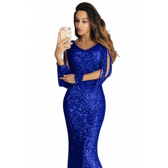 e4e6ee88b40e7 Colleen's Couture Closet Dresses | Natalia Sequin Fringe Sleeve Maxi ...